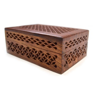 Handmade Wooden Cutwork Box (India)