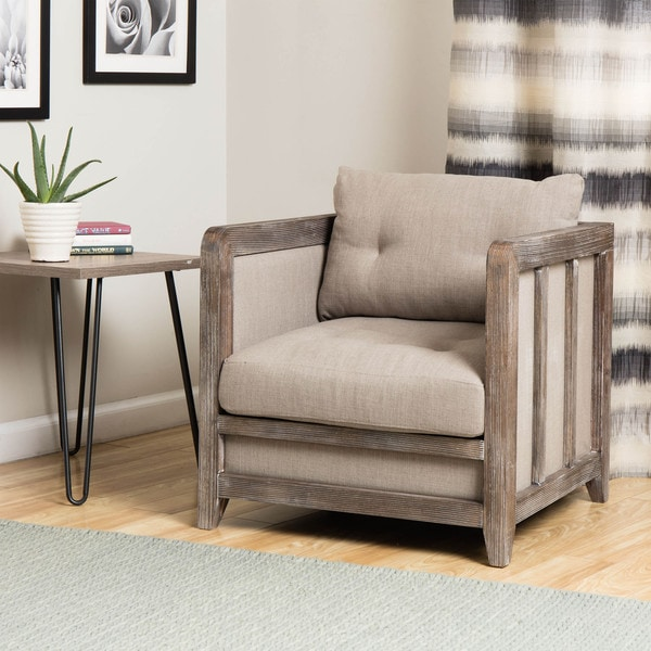 Creston Beige Linen Reclaimed Finish Arm Chair - Free Shipping ...