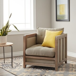 Carbon Loft Creston Beige Linen Reclaimed Finish Arm Chair