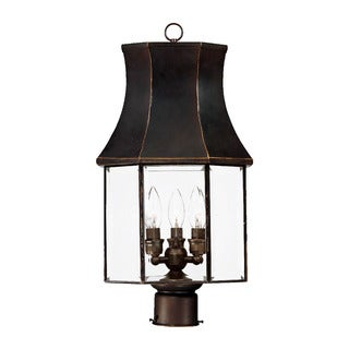 Post-Mount 3-Light Outdoor Architectural Bronze Light Fixture