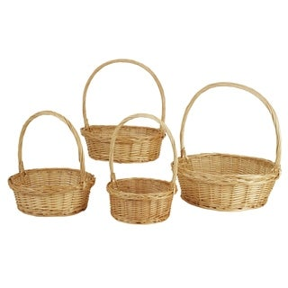 Wald Imports Brown Willow Decorative Nesting Storage Baskets (Set of 4)