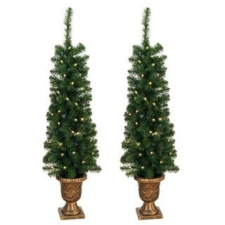Prelit 4-foot Entryway Porch Tree (Set of 2)