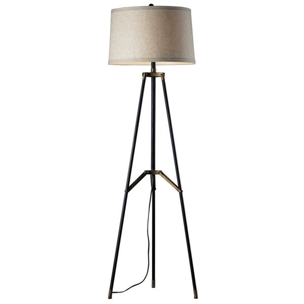 Functional Tripod 3-light Restoration Black/ Aged Gold Floor Lamp