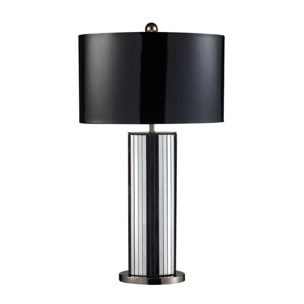 Shreve 1-Light Mirrored and Black Leatherette Table Lamp