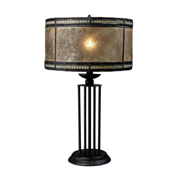 Mica Filigree 1-Light Antique Black Table Lamp