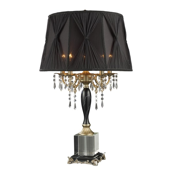 Shop Mount Caufield 5 Light Black Faux Marble And Crystal Table Lamp