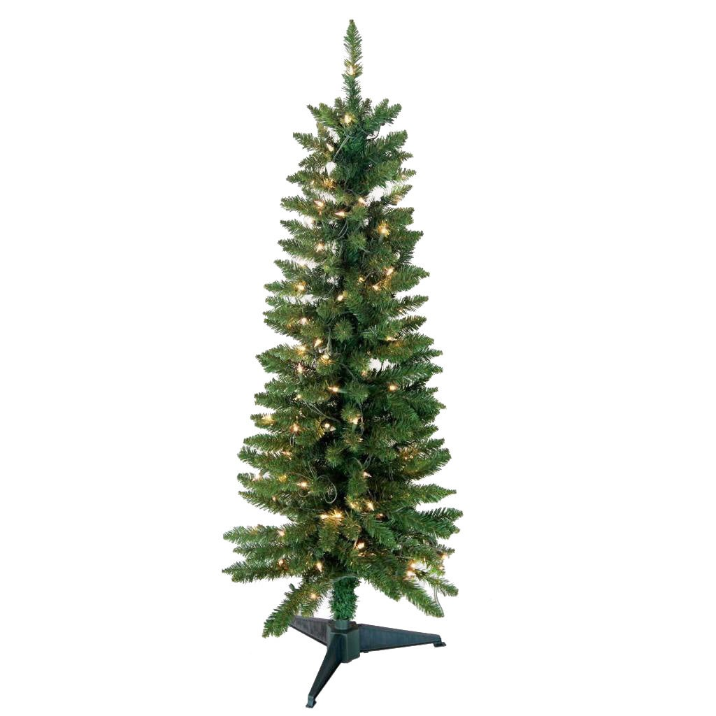 4 Foot Christmas Tree.4 Foot 168 Tip Pre Lit Green Pencil Tree With 100 Ul Lights