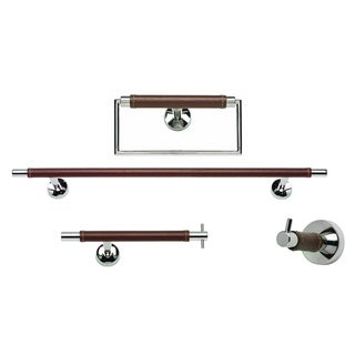 Chrome and Brown Leather 4-piece Bathroom Accessory Set