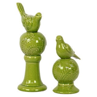 Green Stoneware Bird (Set of 2)