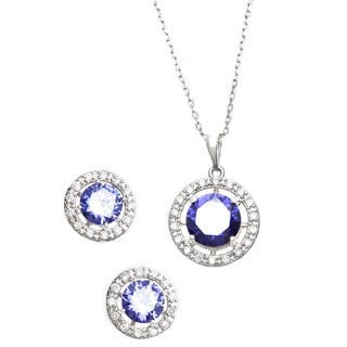 Sterling Essentials Round Purple Pave Cubic Zirconia Halo Necklace and Earring Set