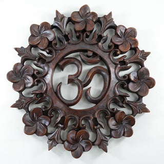 Floral Circle OHM Wood Carved Wall Hanging