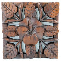 Fangipani Floral Wood Carved Wall Hanging Decor