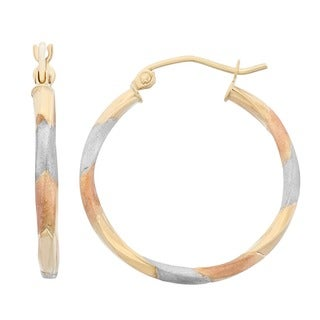 Gioelli 14k Tri-color Gold Satin and Diamond-cut Hoop Earrings
