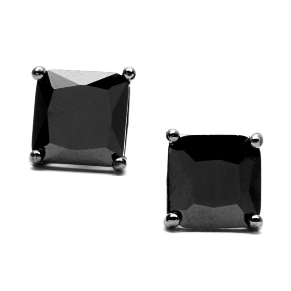 Simon Frank Designs 8 mm Princess Cut Jet Black CZ Stud Earrings with Crystal Gift Box