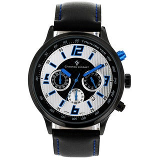 Christian Van Sant Men's Speedway Watch with Silver-and-Blue Dial