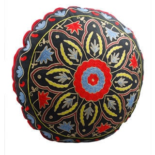 Handmade Starburst Design Round Floor Pillow (India)