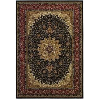 Izmir Royal Kashan/ Black Area Rug (5'3 x 7'6)