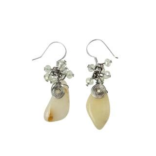Handmade White Agate Glass Beads Earrings (China)