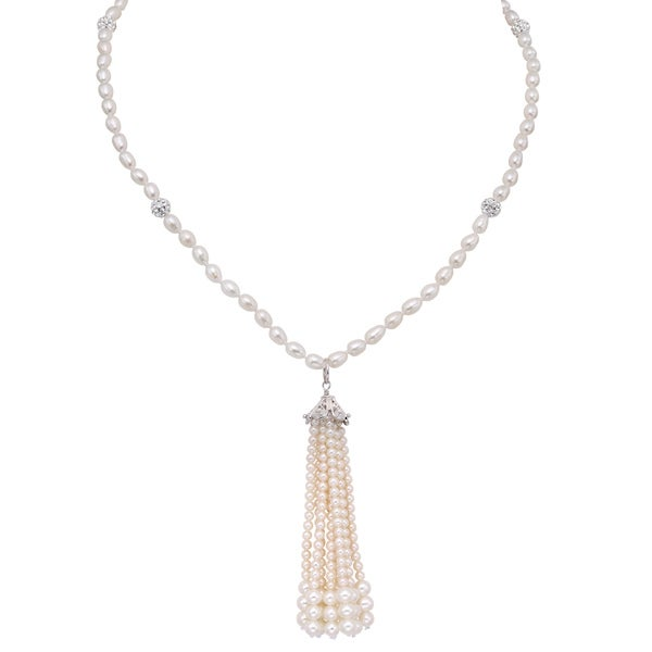 Pearlyta Sterling Silver Freshwater Pearl and Crystal Endless Tassel Necklace (4-6 mm)