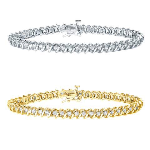 Auriya 14k Gold 1 to 10ct TDW Round Diamond Tennis Bracelet