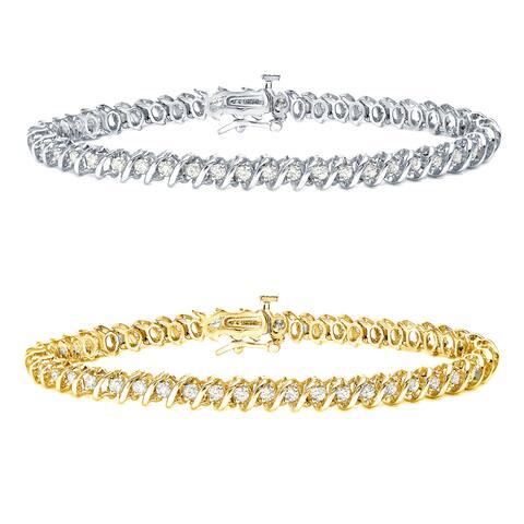 Auriya 14k Gold 1 to 10ct TDW Diamond S-Link Tennis Bracelet