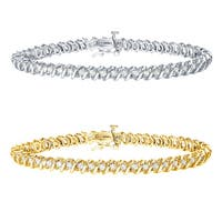 Auriya 14k Gold 1 to 10ct TDW Diamond S-Link Tennis Bracelet