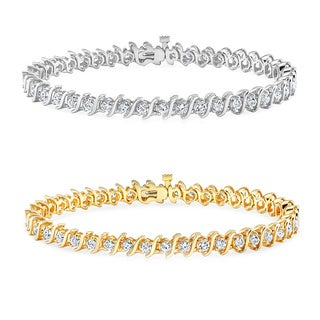 Auriya 14k Gold 1 to 10ct TDW Diamond 'S' Link Tennis Bracelet