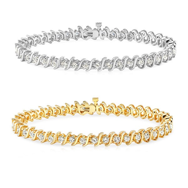 Auriya 14k Gold Diamond S-link Tennis Bracelet