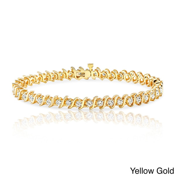 18K Yellow Gold 9.25 inches bangle-bracelets Size 0.33 cttw Round-Cut-Diamond IJ| SI