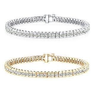 Auriya 14k Gold 3 to 14ct TDW Diamond Tennis Bracelet (I-J, SI1-SI2)