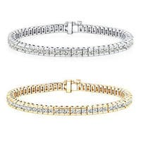 Auriya 14k Gold 3 to 14ct TDW Princess-Cut Channel-Set Diamond Tennis Bracelet