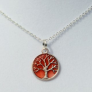 Coral Tree of Life Pendant Necklace