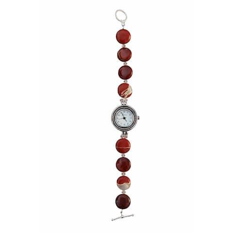 Handmade Beadwork by Julie Red Jasper and Crystal Watch