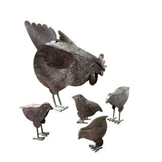 Hen and Chicks Rustic-finished Metal Sculpture (Set of 5)