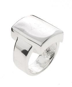 Mondevio Sterling Silver Shiny Square Ring - Thumbnail 1