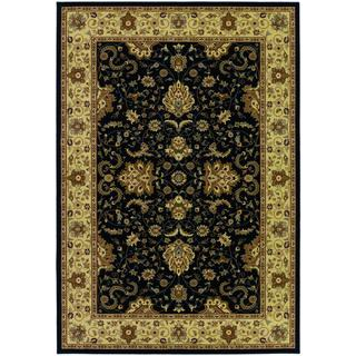 Izmir Floral Bijar/ Black Area Rug (7'10 x 11'2)