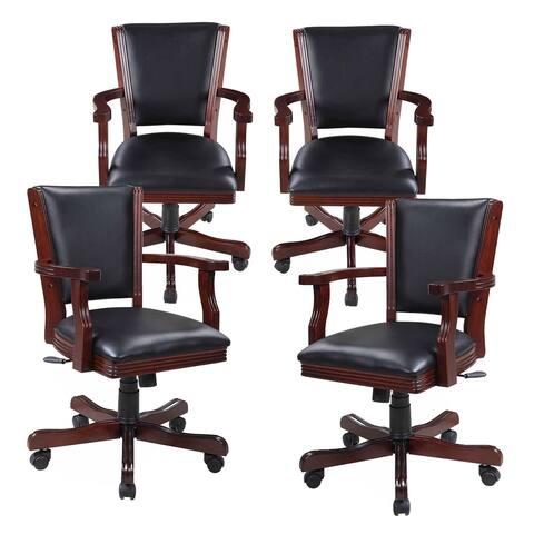 Hathaway Kingston Walnut Poker Table Arm Chair - Set of 4 - 24.75-in W x 25.25-in D x 39-in H