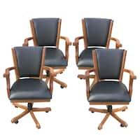 Hathaway Kingston Dark Oak Poker Table Arm Chair - Set of 4