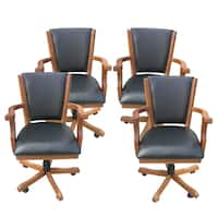 Kingston Dark Oak Poker Table Arm Chair - Set of 4