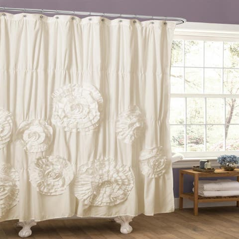 Silver Orchid Bara Ruffle Trim Shower Curtain