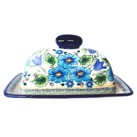 Handmade Traditional Stoneware Butter Dish (Poland)