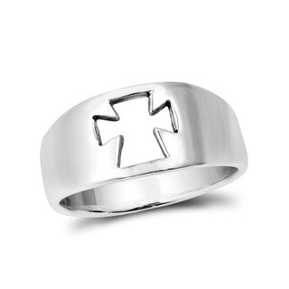 Handmade Iron Cross Faith Emblem Sterling Silver Ring (Thailand)