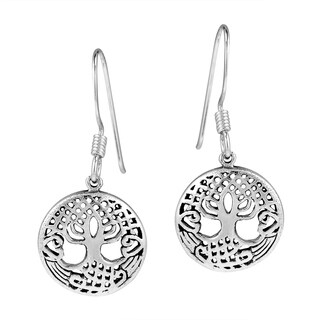 12mm Sacred Tree of Life .925 Silver Dangle Earrings (Thailand)