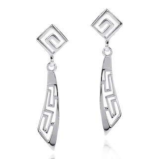 Abstract Greek Key Style .925 Silver Dangle Earrings (Thailand)