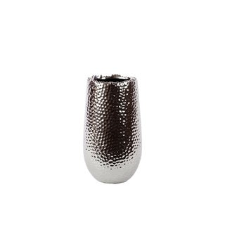 UTC11400: Ceramic Round Vase with Uneven Lip and Rounded Bottom SM Dimpled Polished Chrome Finish Silver