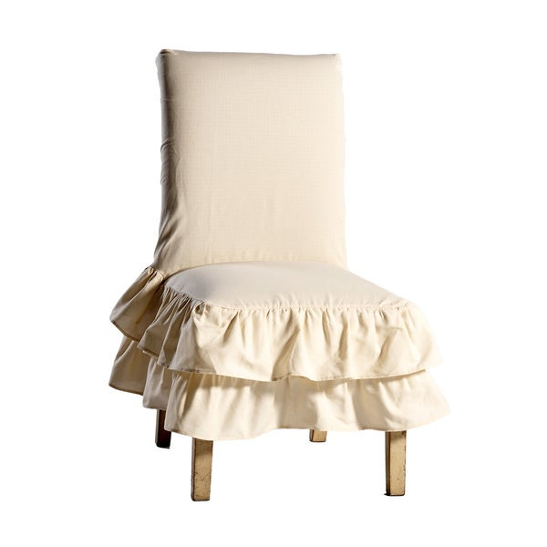 Dining Room Chair Back Covers: Shop Cotton Tiered Ruffled Dining Chair Slipcover