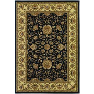 Izmir Floral Isfahan/ Black Area Rug (7'10 x 11'2)