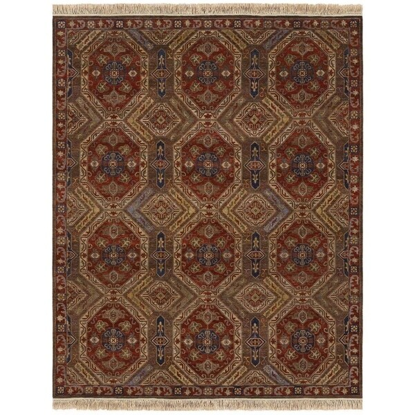 Couristan Jangali Antique Meshad/ Mocha-Rust Wool Area Rug - 5'6 x 8'9
