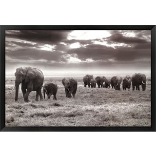 Jorge Llovet 'Amboseli Elephants' Framed Art