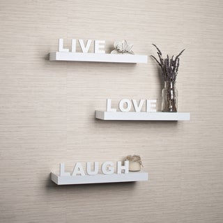 White Laminate 'Live, Love, Laugh' Inspirational Wall Shelves (Set of 3)